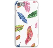 Hand drawn watercolor feathers. Seamless pattern.  iPhone Case/Skin