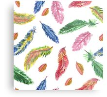 Hand drawn watercolor feathers. Seamless pattern.  Metal Print