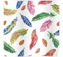 Hand drawn watercolor feathers. Seamless pattern.  Poster