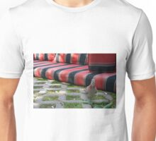 Pigeon next to mattress in the park. Unisex T-Shirt