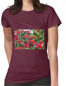Beautiful red flowers in the park. Womens Fitted T-Shirt
