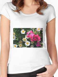 Colorful pink and white flowers in the garden. Women's Fitted Scoop T-Shirt