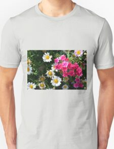 Colorful pink and white flowers in the garden. Unisex T-Shirt