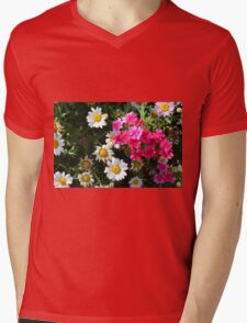 Colorful pink and white flowers in the garden. Mens V-Neck T-Shirt