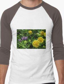 Yellow flowers, natural background. Men's Baseball ¾ T-Shirt