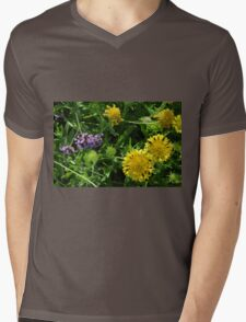 Yellow flowers, natural background. Mens V-Neck T-Shirt