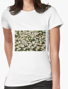 Beautiful natural background with small white flowers. Womens Fitted T-Shirt