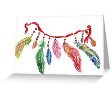 Hand drawn watercolor feathers necklace . Greeting Card