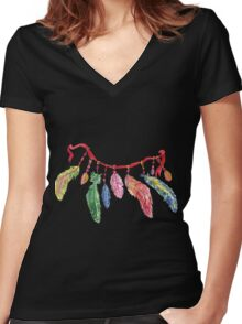 Hand drawn watercolor feathers necklace . Women's Fitted V-Neck T-Shirt