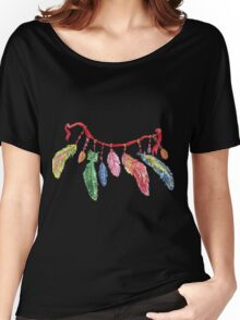 Hand drawn watercolor feathers necklace . Women's Relaxed Fit T-Shirt