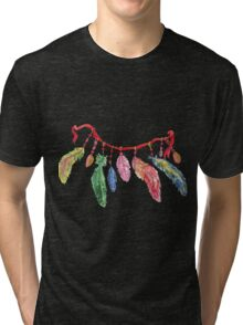 Hand drawn watercolor feathers necklace . Tri-blend T-Shirt