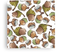 Watercolor Acorns Canvas Print