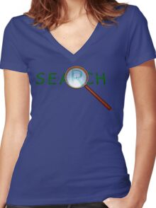 magnifying glass in a gold frame with a wooden handle Women's Fitted V-Neck T-Shirt