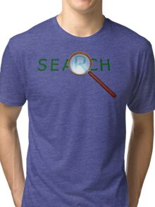 magnifying glass in a gold frame with a wooden handle Tri-blend T-Shirt
