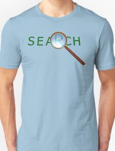 magnifying glass in a gold frame with a wooden handle Unisex T-Shirt