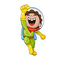Cartoon astronaut Photographic Print