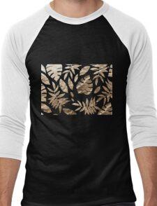 Gold Leaves Pattern Golden tropical on Black Men's Baseball ¾ T-Shirt