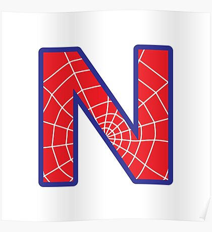 N letter in Spider-Man style Poster