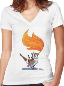 Good Mythical Morning Cockatrice Art by Mr. Ritter Women's Fitted V-Neck T-Shirt