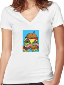 Hamburger, junk food with the lot Women's Fitted V-Neck T-Shirt