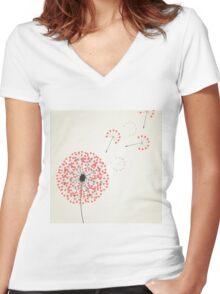 Love dandelion2 Women's Fitted V-Neck T-Shirt