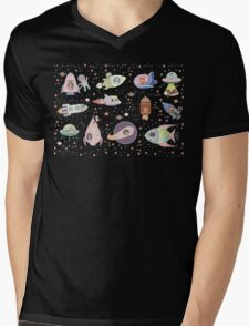OUTER SPACE CANINES & FELINES Mens V-Neck T-Shirt