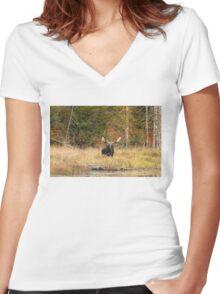 Bull Moose, Algonquin Park Women's Fitted V-Neck T-Shirt