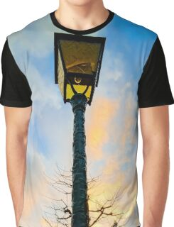 Old -style yellow street lamp over sunset sky background, french countryside Graphic T-Shirt