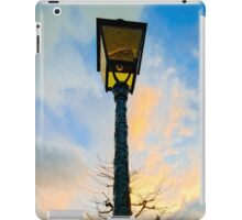 Old -style yellow street lamp over sunset sky background, french countryside iPad Case/Skin