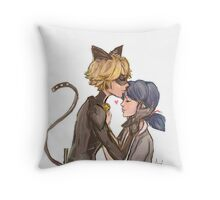 Marinette & Chat Noir Throw Pillow