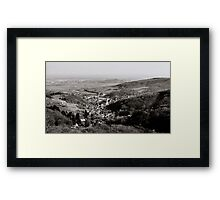 Little french village Andlau view from the top of the hill, retro vintage style Framed Print