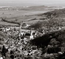 Little french village Andlau view from the top of the hill, retro vintage style Sticker