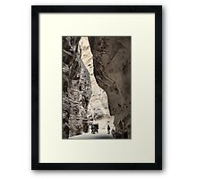 Jordan. Petra. Gorge in Black & White. Horse Carriage. Framed Print