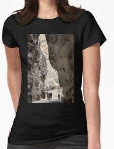 Jordan. Petra. Gorge in Black & White. Horse Carriage. Womens Fitted T-Shirt