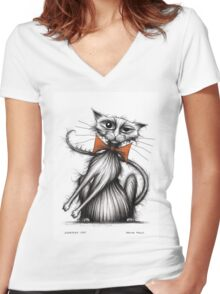 Scratchy cat Women's Fitted V-Neck T-Shirt