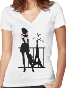 Retro woman red and black silhouette Women's Fitted V-Neck T-Shirt