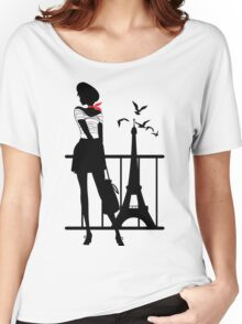 Retro woman red and black silhouette Women's Relaxed Fit T-Shirt
