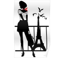 Retro woman red and black silhouette Poster