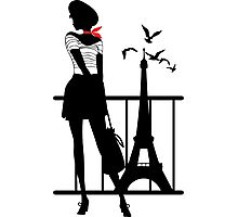 Retro woman red and black silhouette Photographic Print