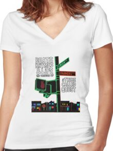Beats Rhymes & Life - the travel of Women's Fitted V-Neck T-Shirt