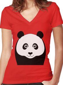 PANDA PORTRAIT Women's Fitted V-Neck T-Shirt