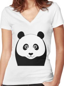 PANDA PORTRAIT Women's Fitted V-Neck T-Shirt