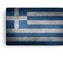Greece Flag Grunge Canvas Print