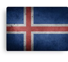 Iceland Flag Grunge Canvas Print
