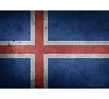 Iceland Flag Grunge Photographic Print