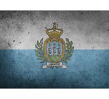 San Marino Flag Grunge Photographic Print