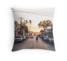 Sun sets in the village Throw Pillow