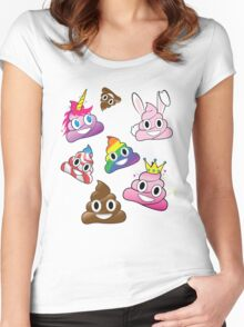 Silly Whacky Fun Poop Emoji Land Collection Women's Fitted Scoop T-Shirt