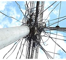 Wires on a Utility Pole Photographic Print