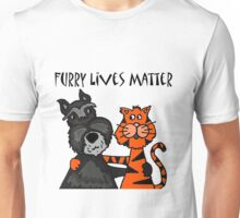Cool Funny Schnauzer Dog and Tiger Cat Love Unisex T-Shirt